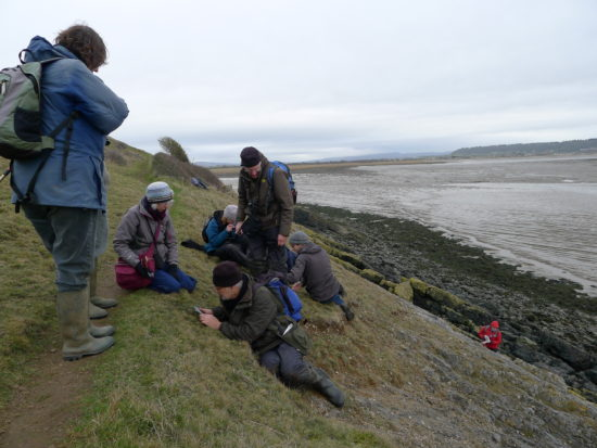 Members of the group getting down to business with the tiny acrocarps on Sand Point. Sharon Pilikington